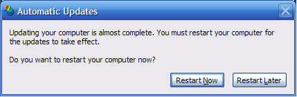 Automatic Updates – Disabling the Restart Now – Restart Later message